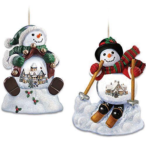 Thomas Kinkade Holiday Scene Snowman Snowglobe Ornament Set By The