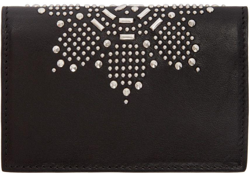 Alexander mcqueen black studded bifold card holder with