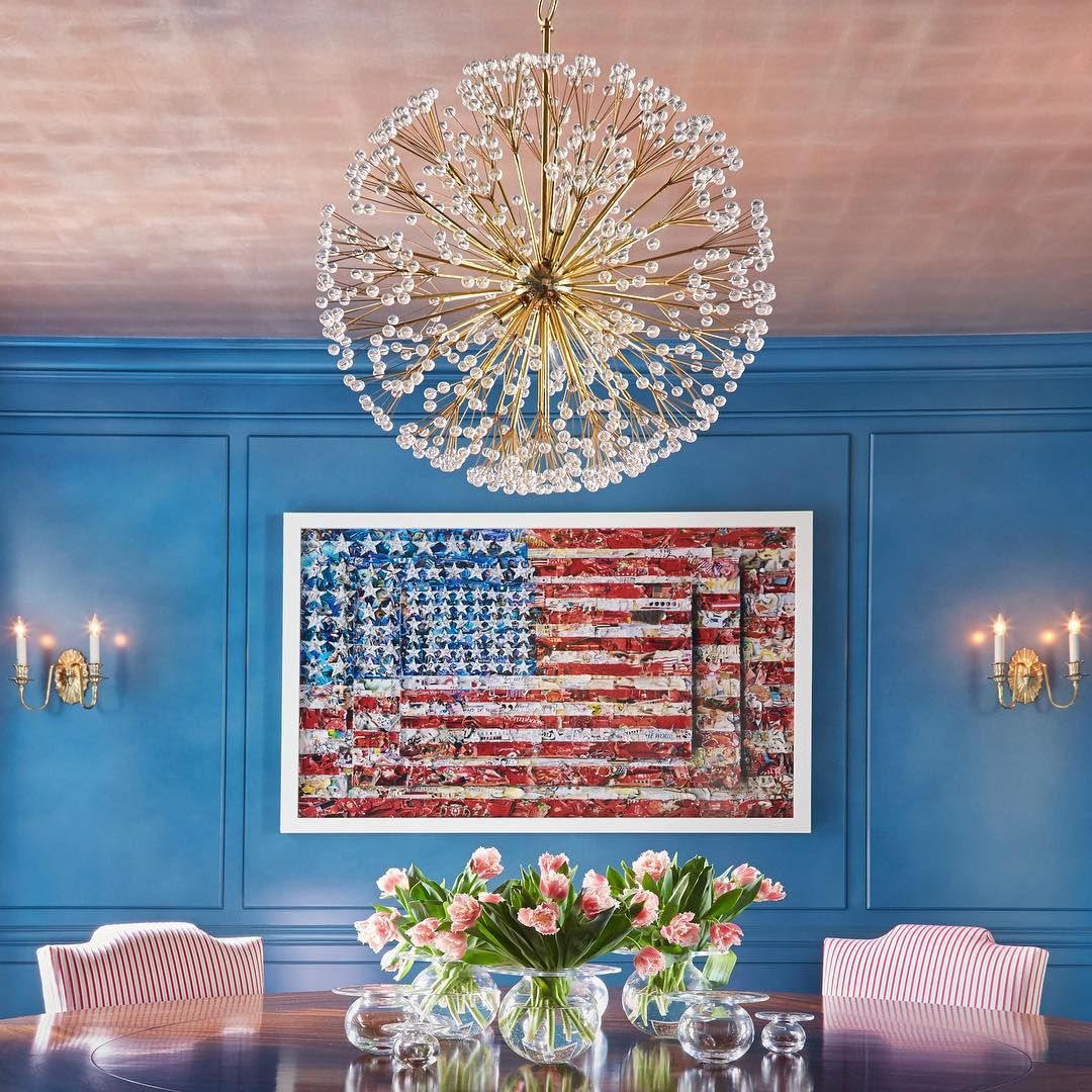 Dandelion chandelier and soleil sconces in a patriotic dining room dandelion chandelier and soleil sconces in a patriotic dining room by phillip thomas interiors arubaitofo Images