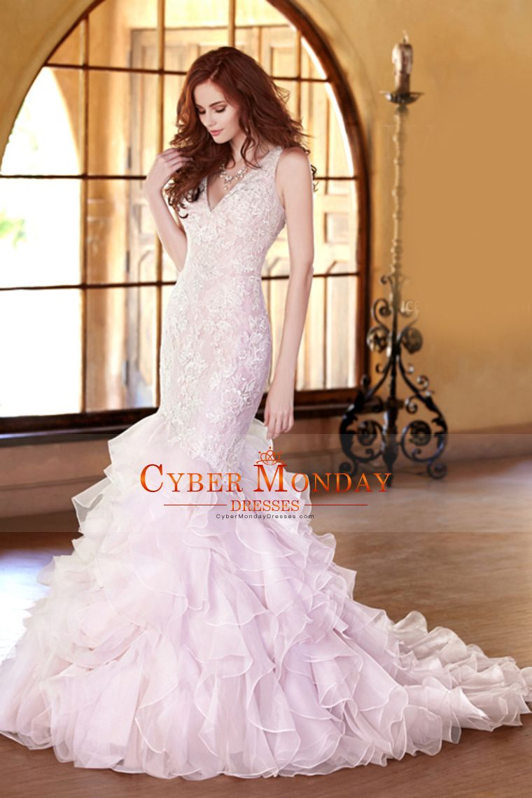2016 New Arrival V Neck Mermaid Organza With Applique Wedding Dresses Tulle Open Back