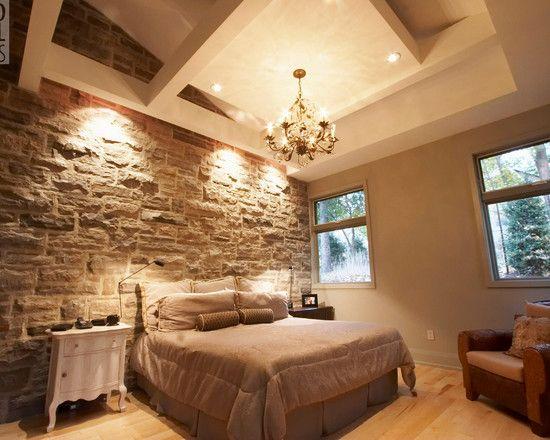 Dormitorio pared de piedra awesome interiors pinterest master bedroom bedrooms and lofts - Revestimiento paredes imitacion piedra ...