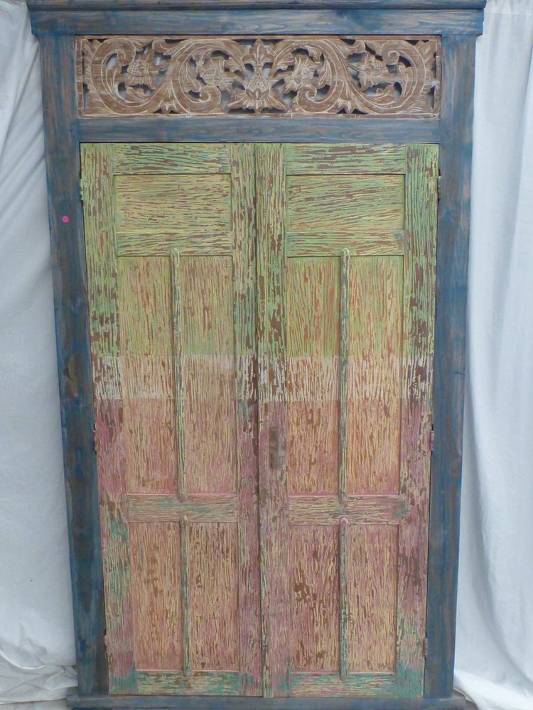 Balinese Reproduction Timer Doors Hand Carved Panel Colourful Distressed Rustic & Balinese Reproduction Timer Doors Hand Carved Panel Colourful ...