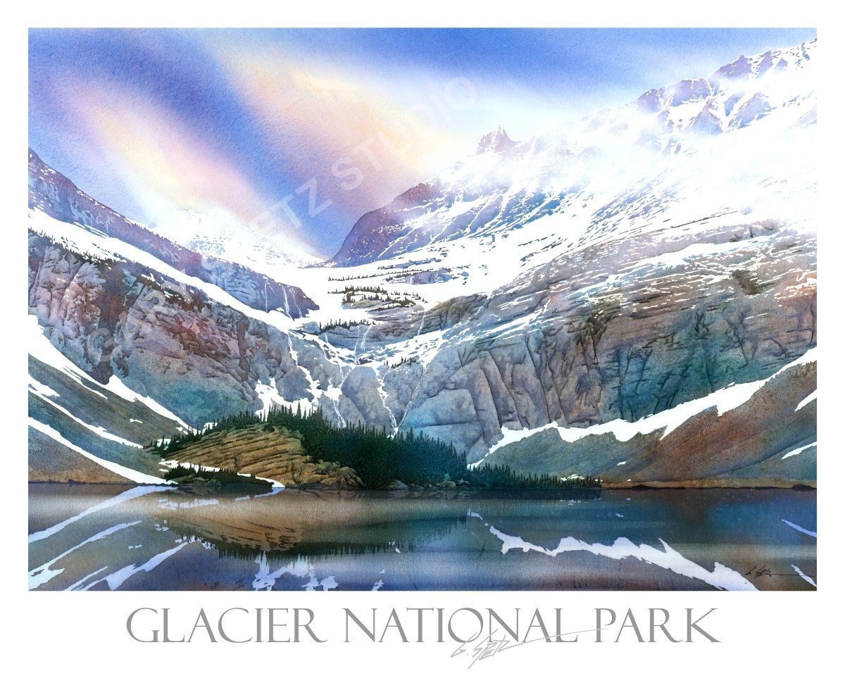 Glacier National Park Watercolor Print By Gary Spetz Montana