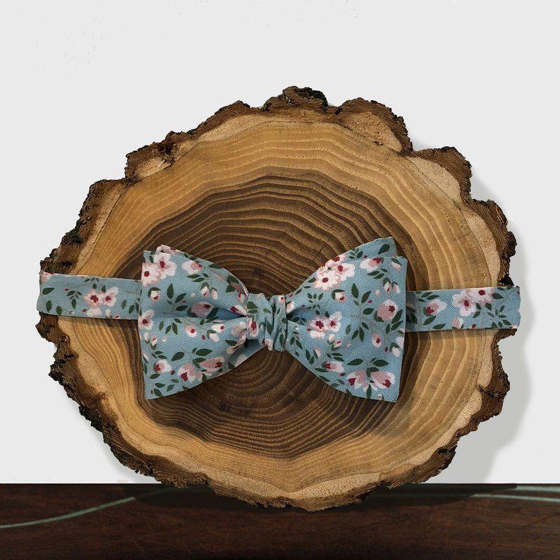 Dusty Blue Ditsy Floral Bow Tie, Mens Blue Bowtie, Self