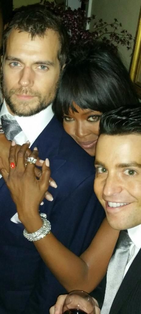 Henry with Naomi Campbell and Steven Grossman at GG afterparty.