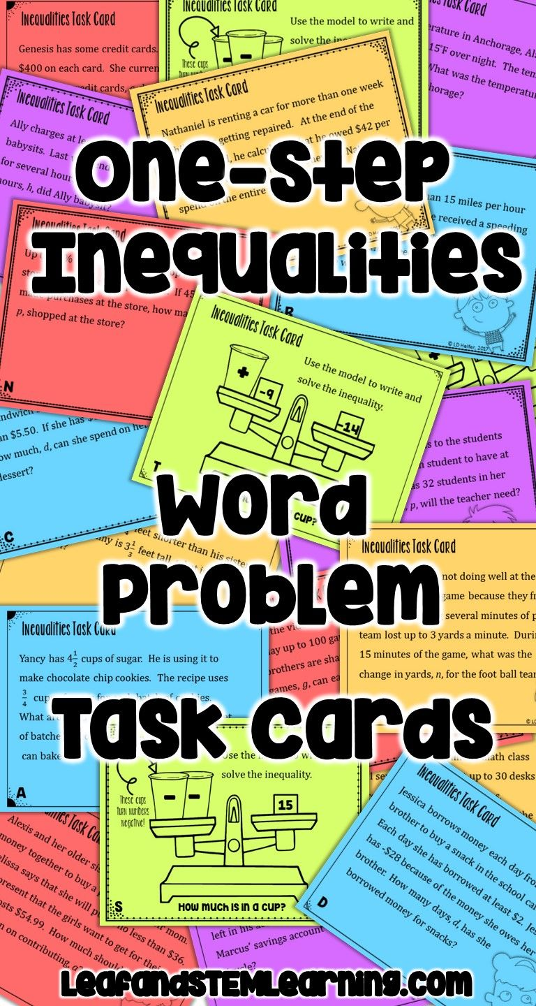 Practice writing and solving one-step inequalities with this differentiated  task card activity.…   Inequality word problems [ 1440 x 768 Pixel ]