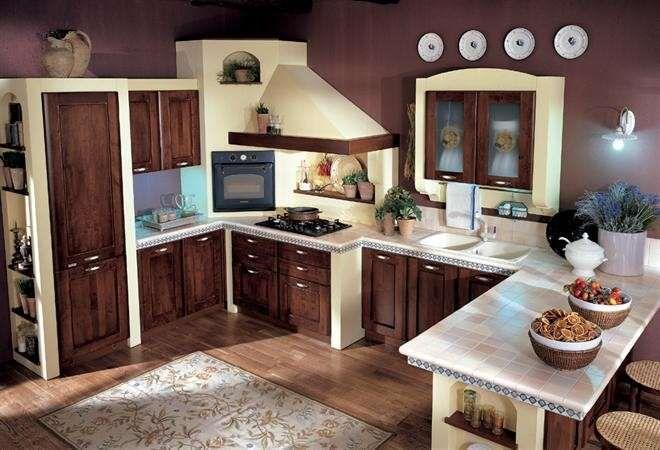 Cucine in finta muratura - Cucina con elettrodomestici da incasso