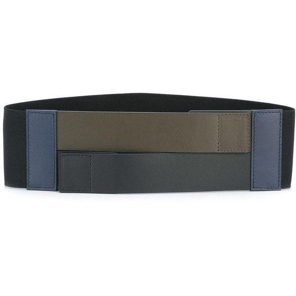 Marni wide colour block belt ($290) ❤ liked on Polyvore featuring accessories, belts, black, wide belt, velcro belt, marni belt and marni
