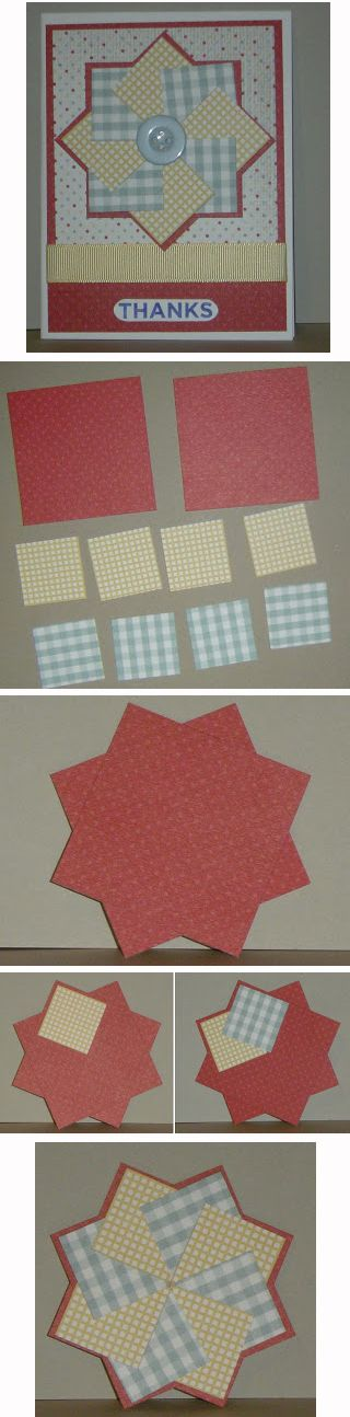 """By Kate. Pinwheel Card. White card base. Red mat 5 1/4"""" x 4."""" Patterned mat 4 1/2"""" x 3 3/4."""" Pinwheel base: two 2 5/8"""" squares adhered at right angles. Eight patterned paper 1 1/4"""" squares, 4 of each design, adhered in alternate patterns on the pinwheel base. Note: Adhere only the right side of the first square to the base so you can tuck the last square under the first. Use a button or brad for the center."""