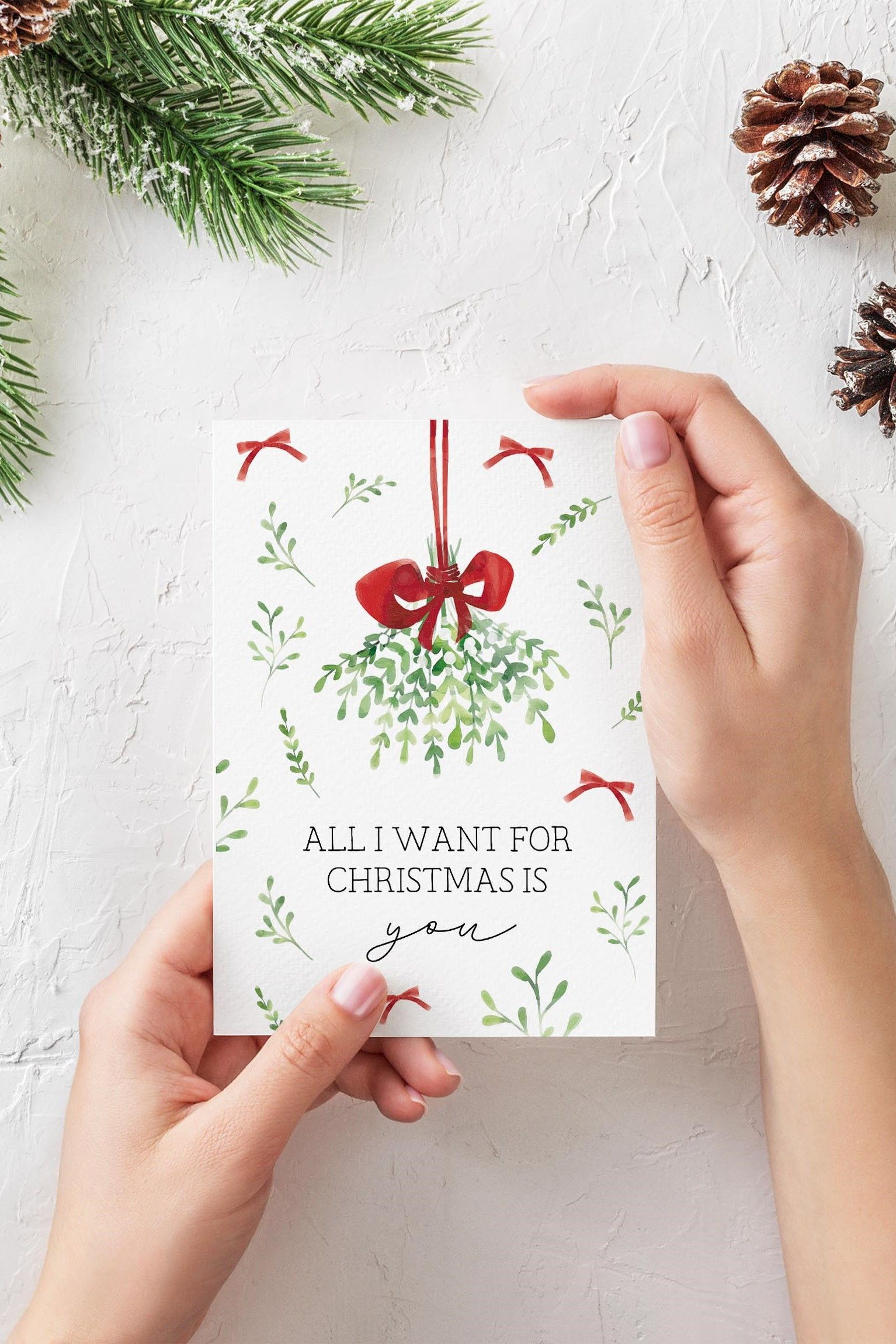 Printable Christmas Card Mistletoe Holiday Card All I Want For Christmas Is You Card For Husband Wife Boyfriend Girlfriend 5x7 Pdf Watercolor Christmas Cards Painted Christmas Cards Boyfriend Christmas Card