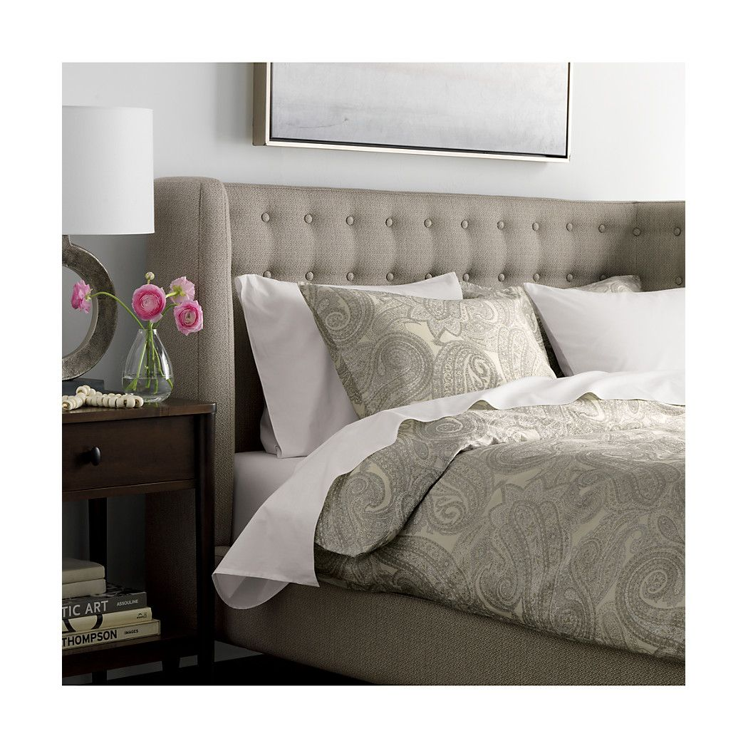 Gia Upholstered Grey Tufted Bed Crate and Barrel Bed