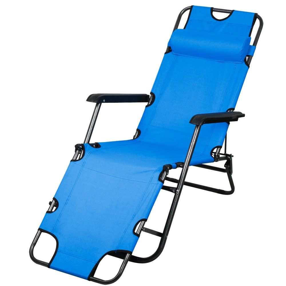 World Pride Patio Lounge Chair Folding Cot with Adjustable Pillow Siesta Sunny Chairs (Blue)