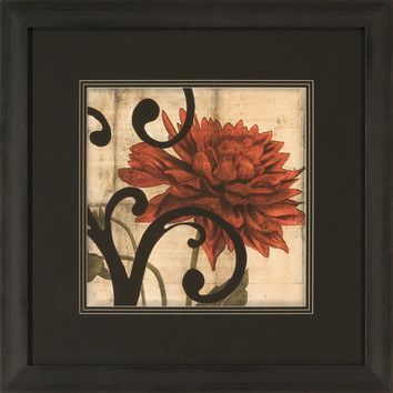 Ashton Wall Décor LLC Dahlias and Scrolls IV Framed Graphic Art ...