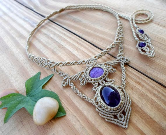 Amethyst macrame necklace charoite cabochon micro by SelinofosArt
