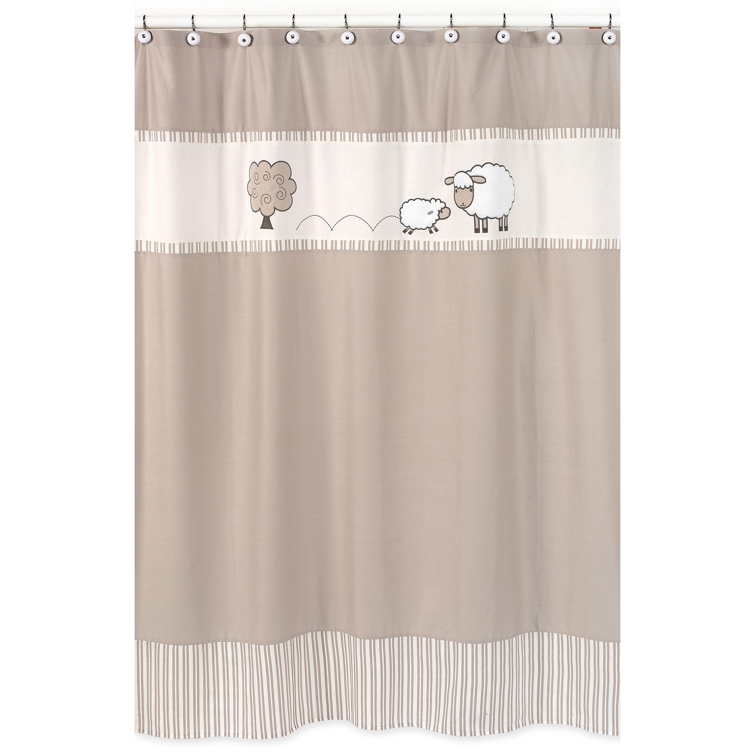 Sweet jojo designs little lamb kids shower curtain beige offwhite