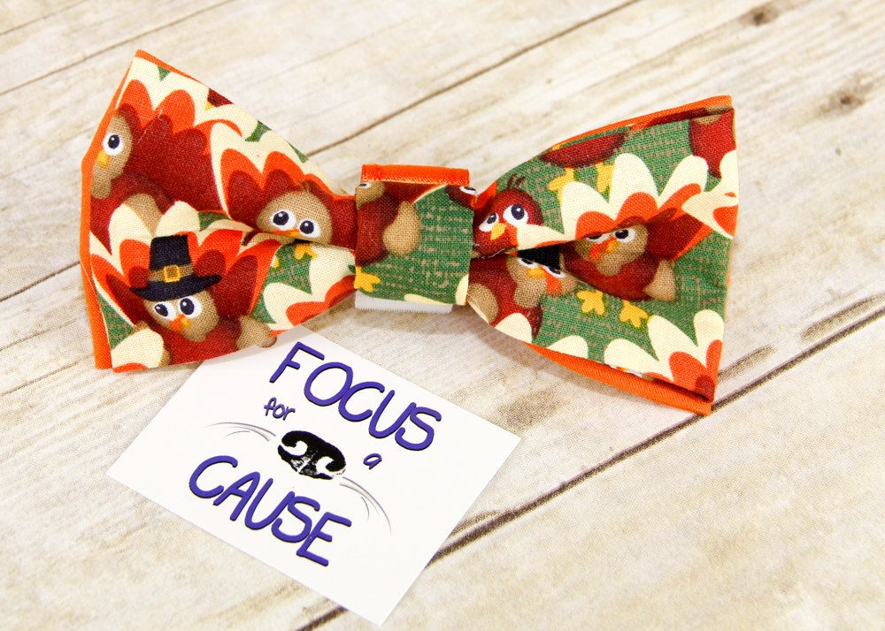 Dog Bow Tie Thanksgiving Bow Tie Double Layered Bow Tie Collar Accessory Pet Bow Tie By Focusforacause On Etsy