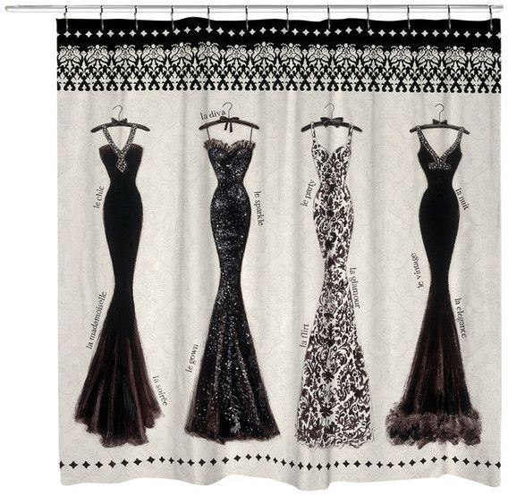 Couture Noir Shower Curtain. Off-white shower curtain with elegant evening gowns & a decorative border with subtle damask background. Glamorous black & white evening gowns for a vintage film noir femme fatale dressing for a party or evening of intrigue.12 button holes at the top for shower hook placement. #ShowerCurtain #EveningGown #GlamourGirl #BathDecor #curtain #damask #GlamDecor #BlackAndWhite #Couture #ad