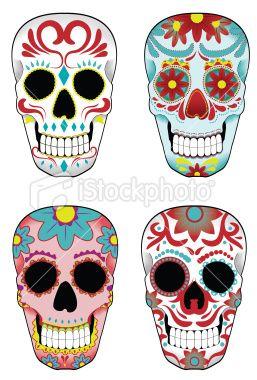 Set Of Mexican Sugar Skulls Stock Illustration Istockphoto Com Sugar Skull Design Mexican Sugar Skulls Sugar Skull Halloween
