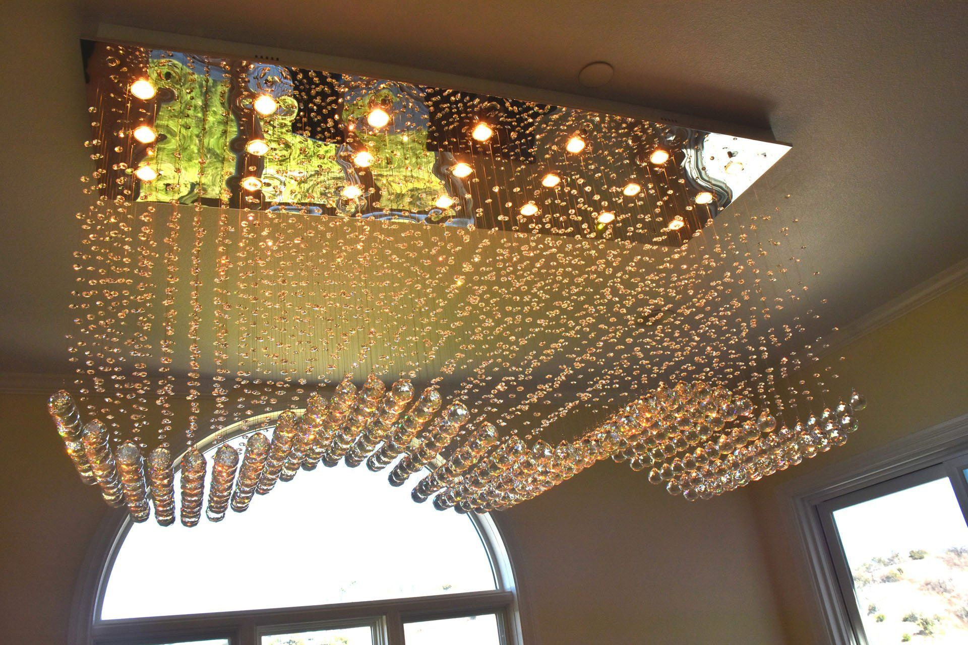 Contemporary Rectangle Crystal Raindrop Flush Ceiling Light