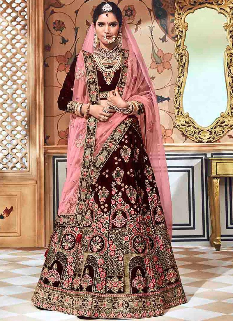 6da008efdb Wine velvet embroidered heavy designer Indian wedding lehenga choli 4709