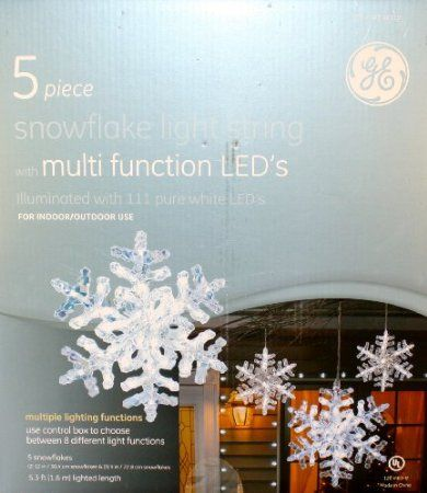 amazoncom ge multi function snowflake led light string patio lawn