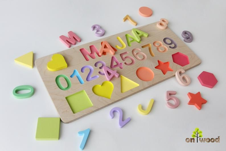 9629765587ab2 Personalized Wooden Name Puzzle with Numbers and Shapes. | Etsy ...
