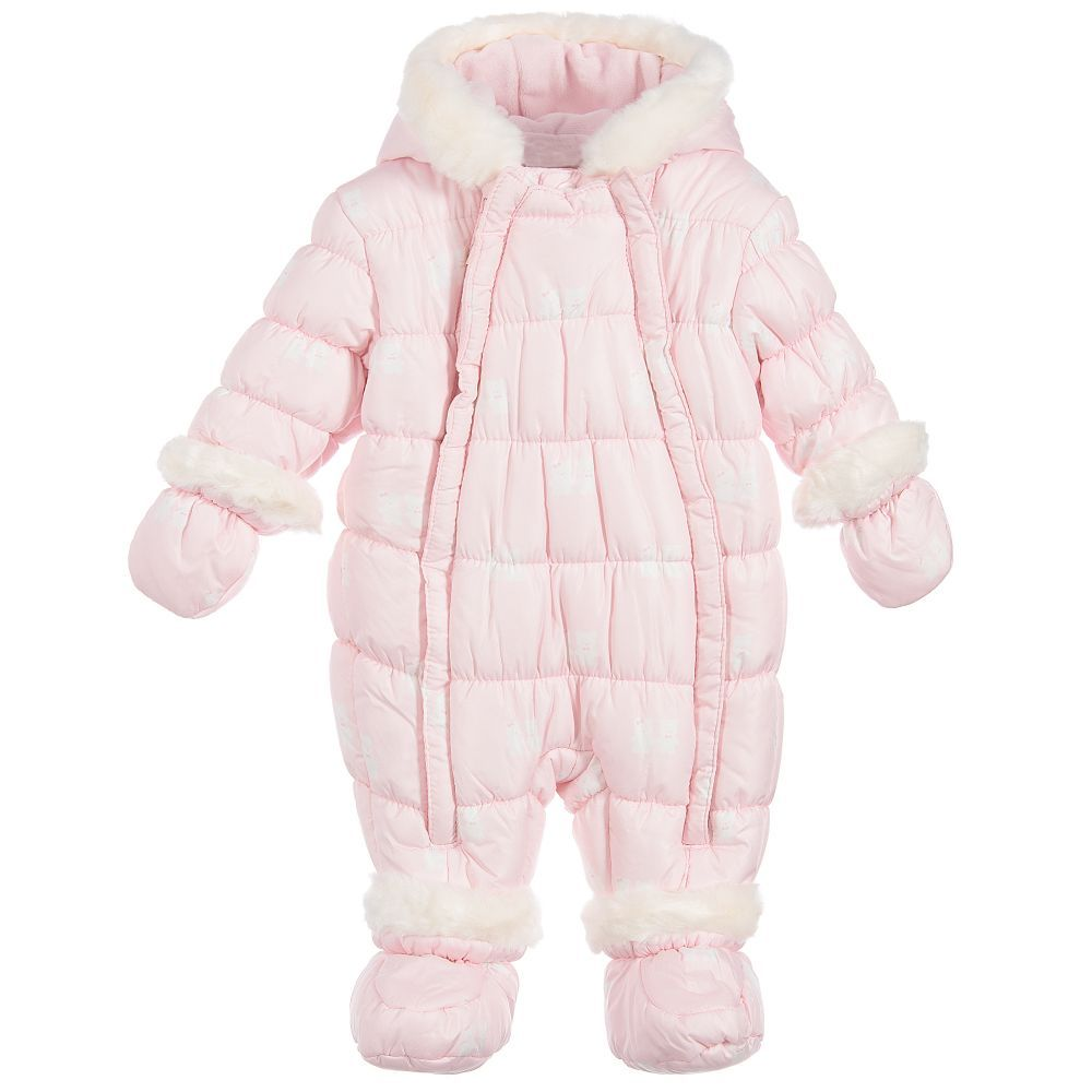 d9ddad735 Mayoral Newborn - Pink Teddy Baby Snowsuit | Childrensalon ...