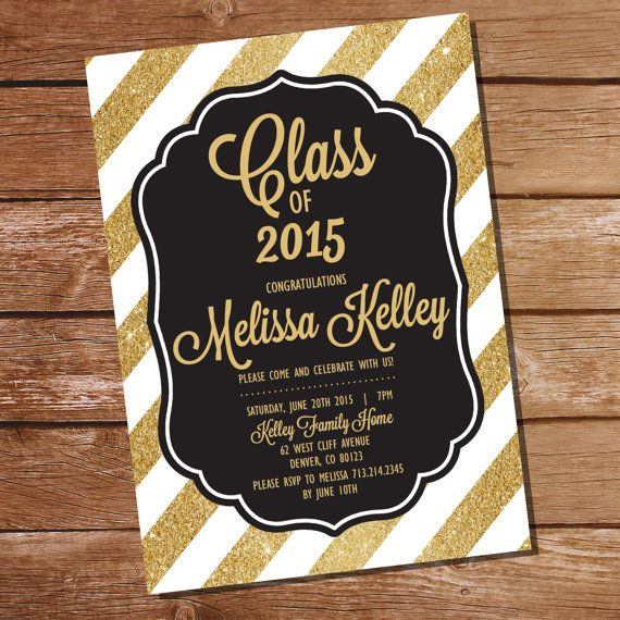 Black And Gold Graduation Invitation By Sunshineparties On Etsy
