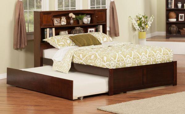 Newport Walnut Full Bookcase Bed w/Flat Footboard