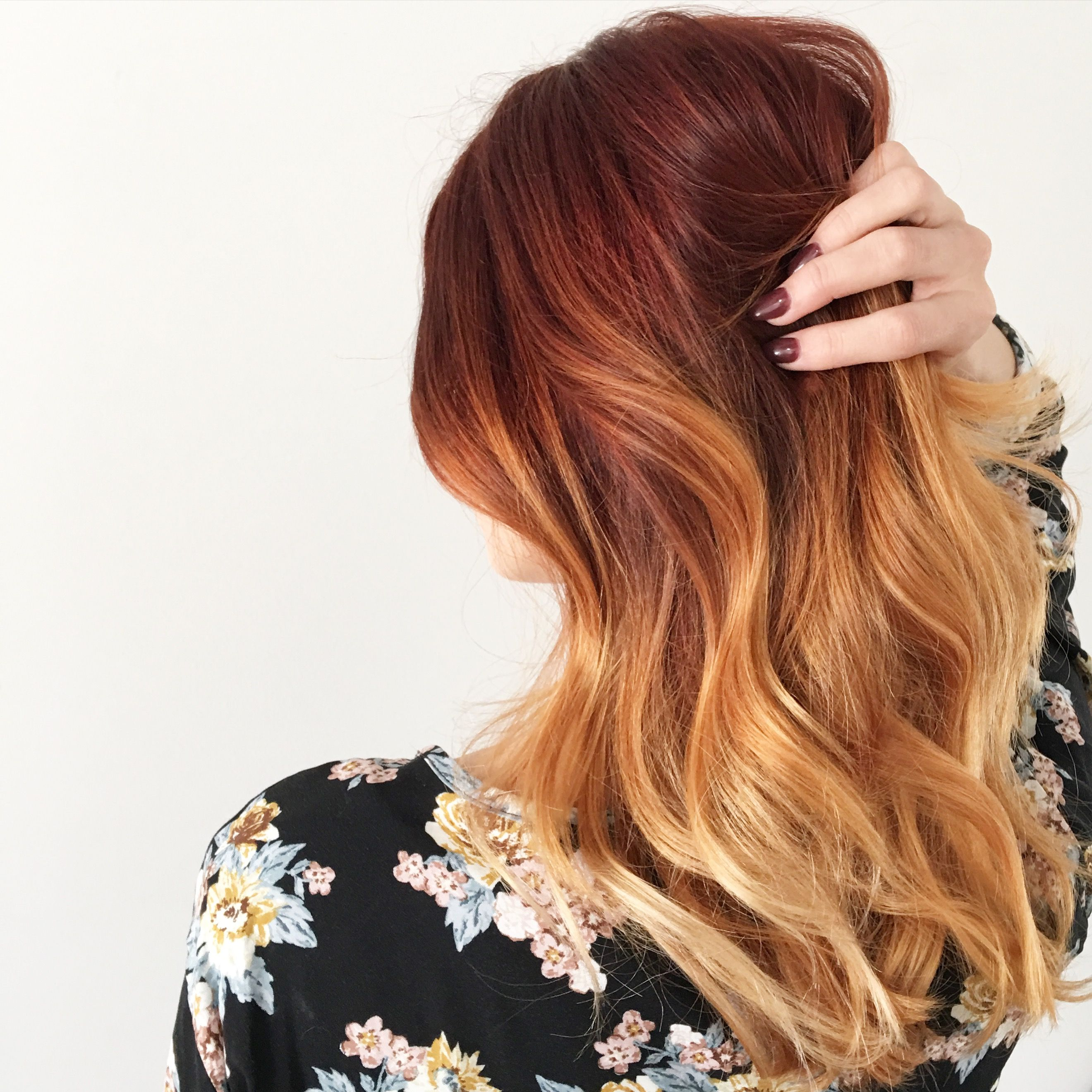 Balayage red highlight hair color on blonde shedonteversleep