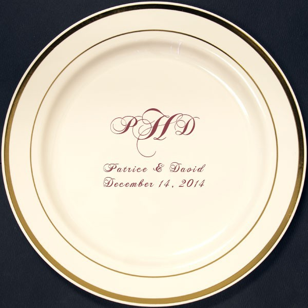 7 Inch Custom Printed Gold Trim Reusable Plastic Dessert Plates (Set of 25)  sc 1 st  Pinterest : custom plastic dinnerware - pezcame.com