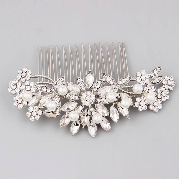 Hair Accessories Bridesmaid Vintage Comb Pearl Flower Hair Comb Bridal Rhinestone Hair Comb Wedding Comb Bridal Headpiece Crystal Comb
