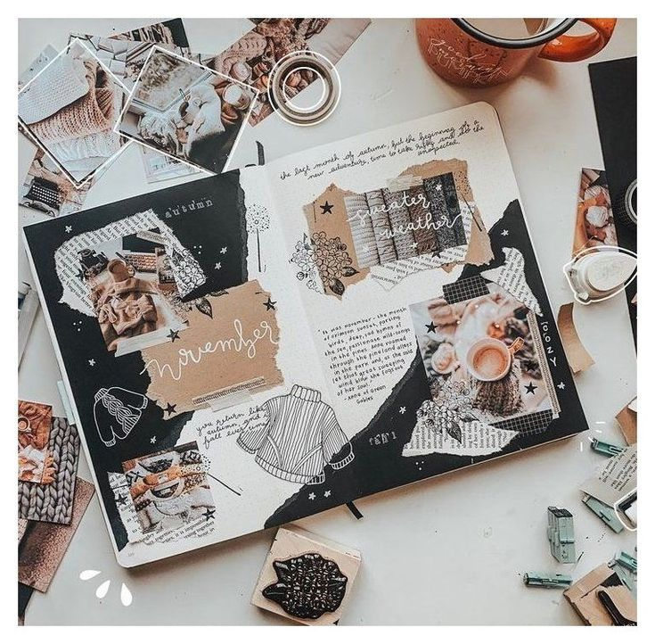 """cute scrapbook cover ideas #scrapbook #cover #ideas Savannah Scribbles on Instagram: """"NOVEMBER COVER PAGES 🌘 🍁 I embraced the cozy vibes with this sweat #cute #scrapbook #cover #ideas"""