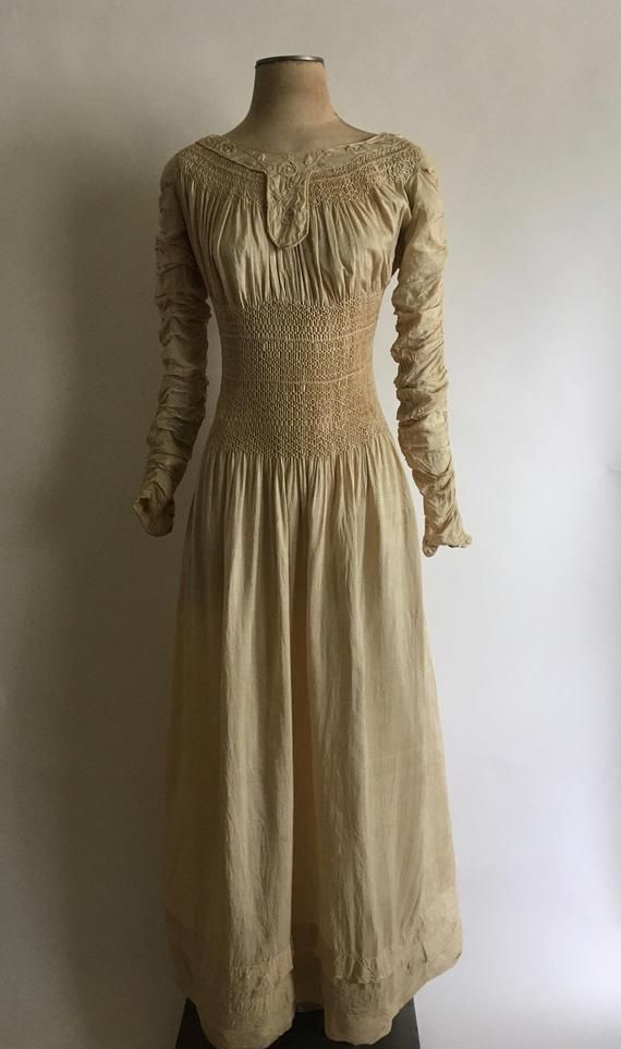 19th Century Liberty of London Silk Embroidered Smocked Dress with Gathered Long Sleeves /Aesthetic Style/Rare Liberty of London/RW