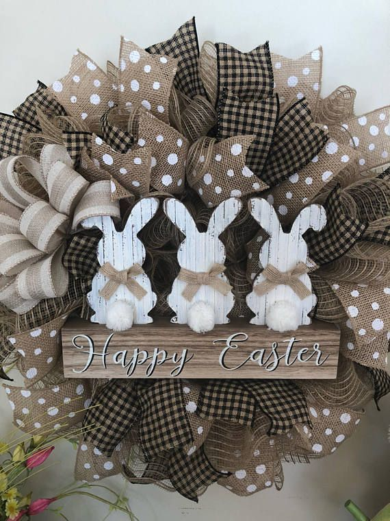 Photo of Easter Bunny Wreath Burlap Deco Mesh Bow Available # Easter # Decoration