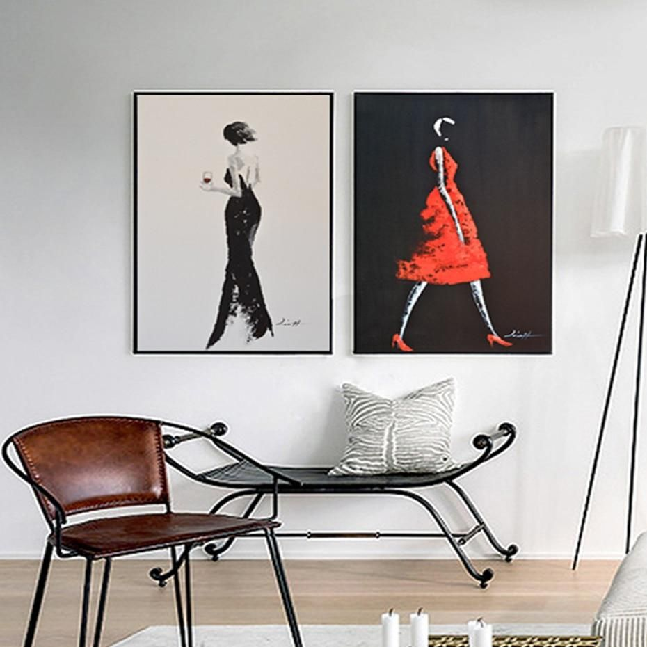 Abstract Fashion Canvas Wall Art Modern Elegant Black Red Dress Poster Muur