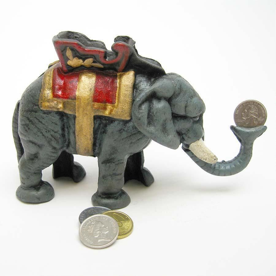 Circus Elephant Collectors Die Cast Iron Mechanical Coin Bank  # Muebles Toscano Mobil