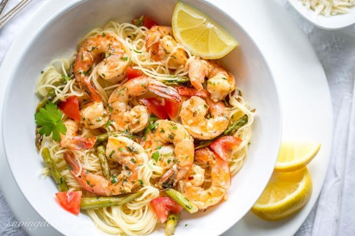 Shrimp Scampi With Asparagus And Tomatoes Recipe Main Dishes With Angel Hair Unsalted Butter