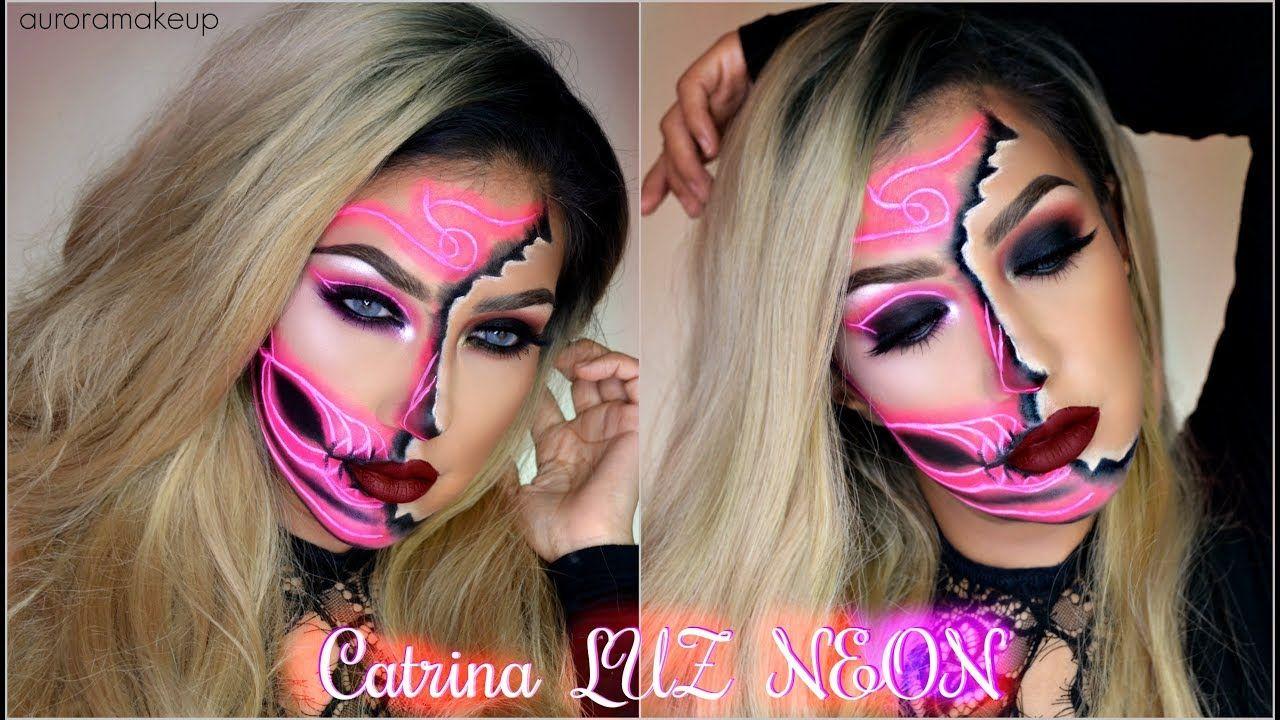 Videos De Maquillaje De Halloween.Catrina Luz Neon Neon Half Sugar Skull Makeup Tutorial Halloween
