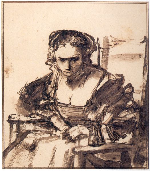 Rembrandt Van Rijn Drawings A Young Woman Seated In An Armchair C