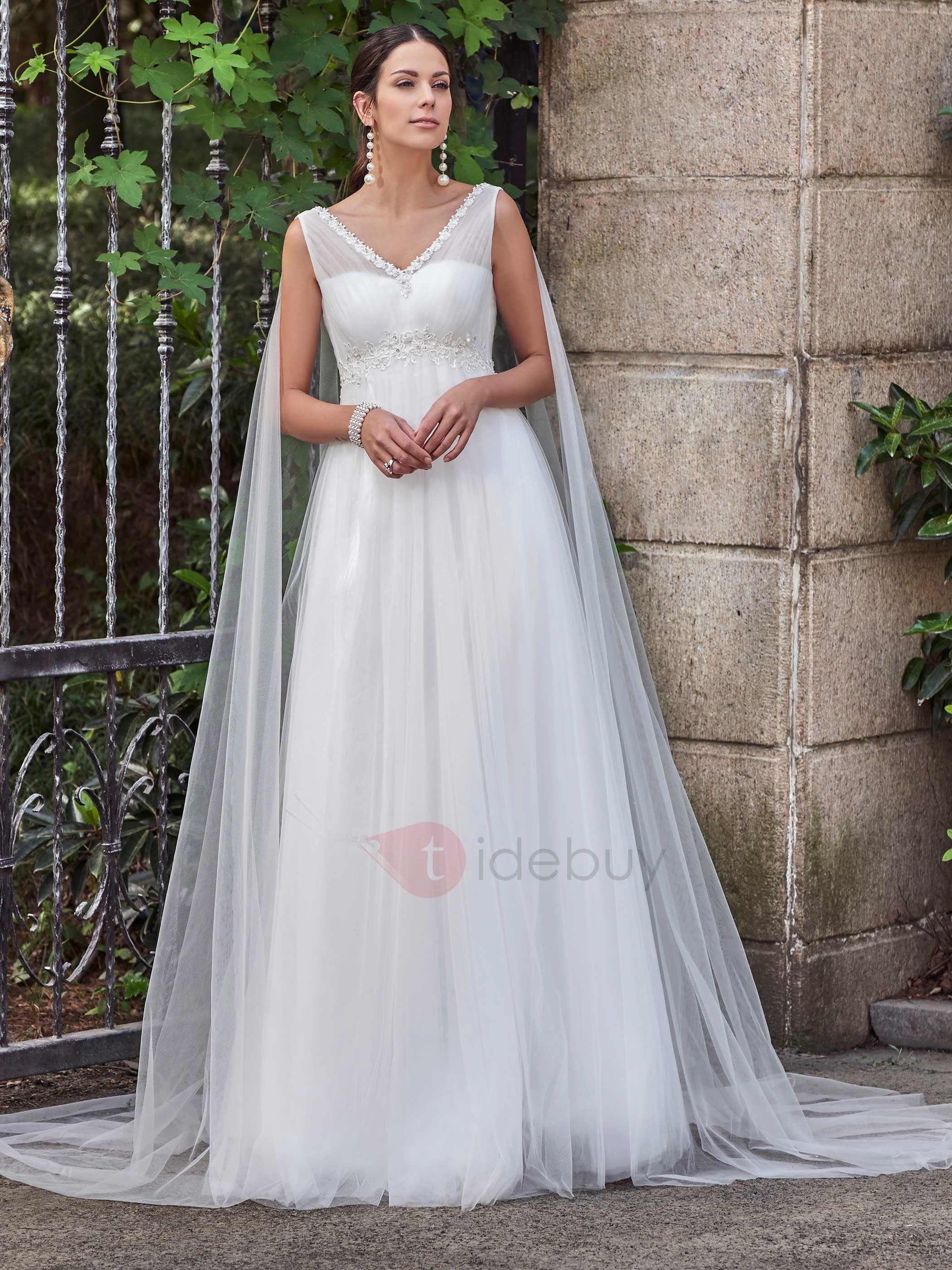 Appliques Beading V Neck Empire Waist A Line Wedding Dress ...