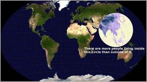 Curioso este mapa que nos indica el lugar donde mas gente vive en el