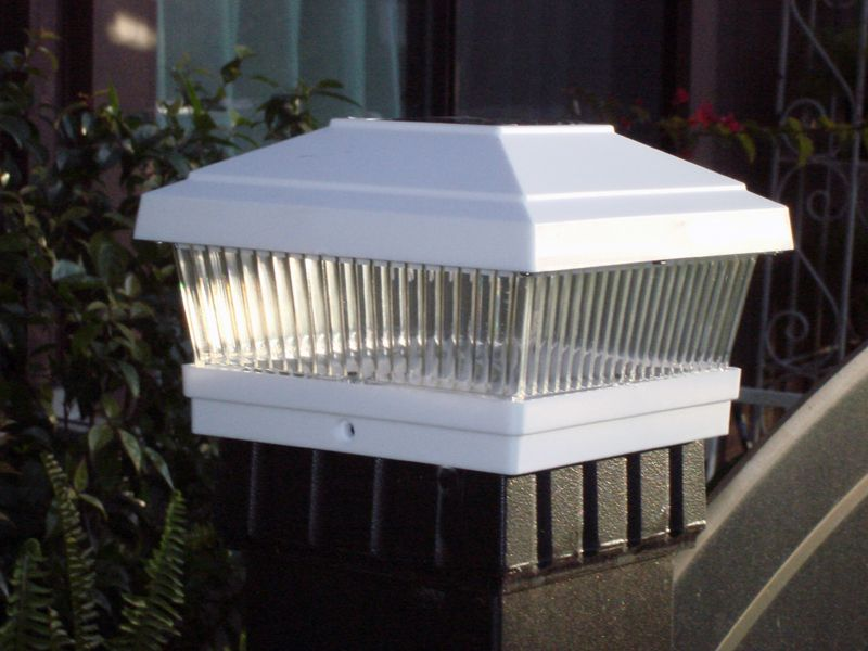 5x5 White Solar Deck and Fence Post Lights for Vinyl Posts, Set of 2