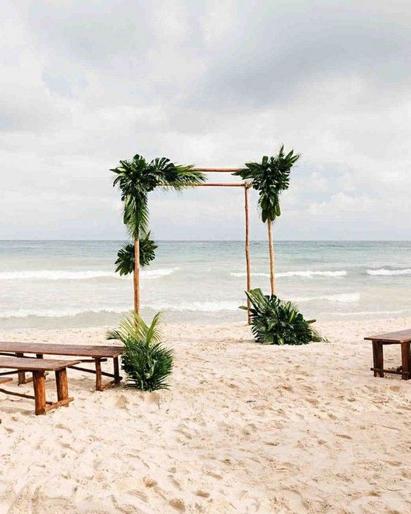 20 Stunning Beach Wedding Ceremony Ideas Backdrops Arches And Aisles Emmalovesweddings Tropical Beach Wedding Simple Beach Wedding Wedding Beach Ceremony