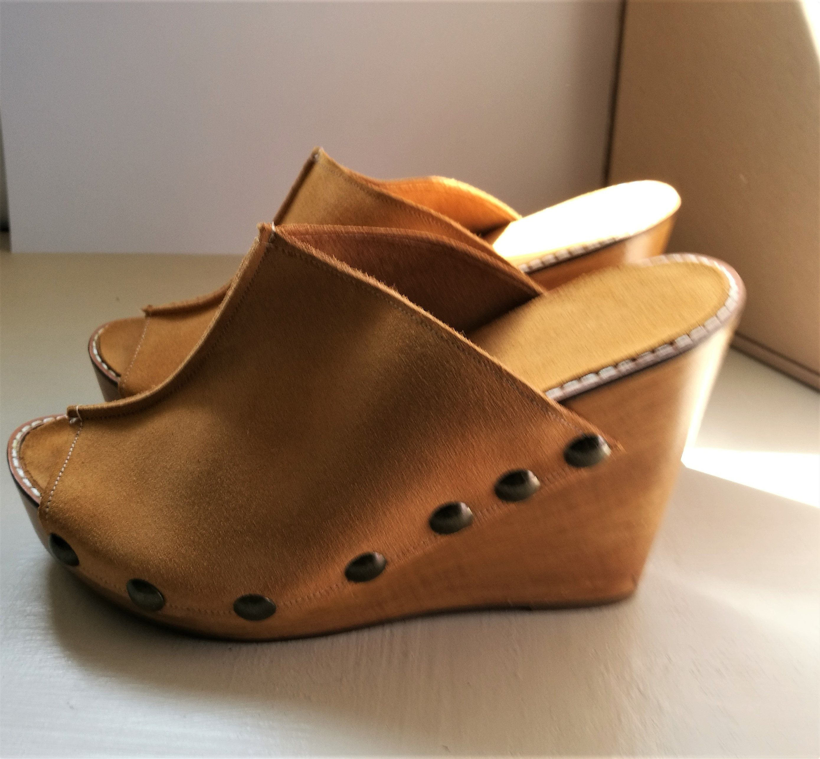 bf72dbeb3d Ladies / Women's Tan Suede Studded Mules / Shoes / Sandals / Wedges, High  Heel