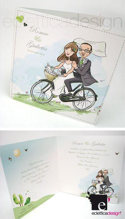 Partecipazioni Matrimonio Harley.Partecipazioni Di Matrimonio Bici Bike Wedding Invitation