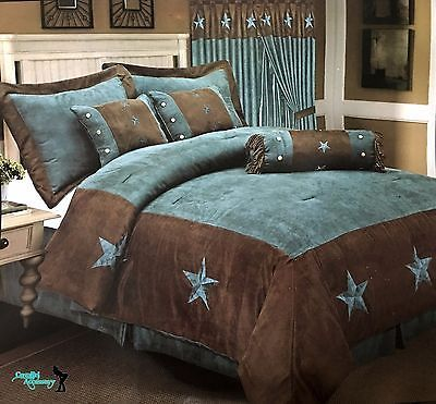western embroidered texas star comforter bedspread 7 piece set turquoise brown