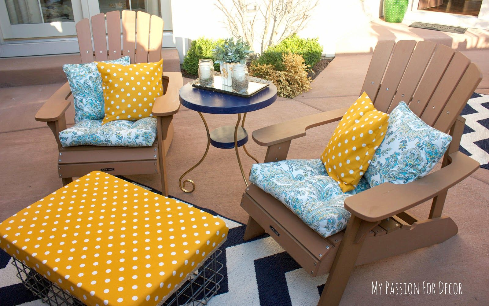 My Passion For Decor: My Bright And Sunny Outdoor Ottoman...Bring On The Polka Dots!  DIY outdoor ottoman using Yellow Polka Dot Outdoor fabric by Premier Prints via the Online Fabric Store.  www.onlinefabricstore.net