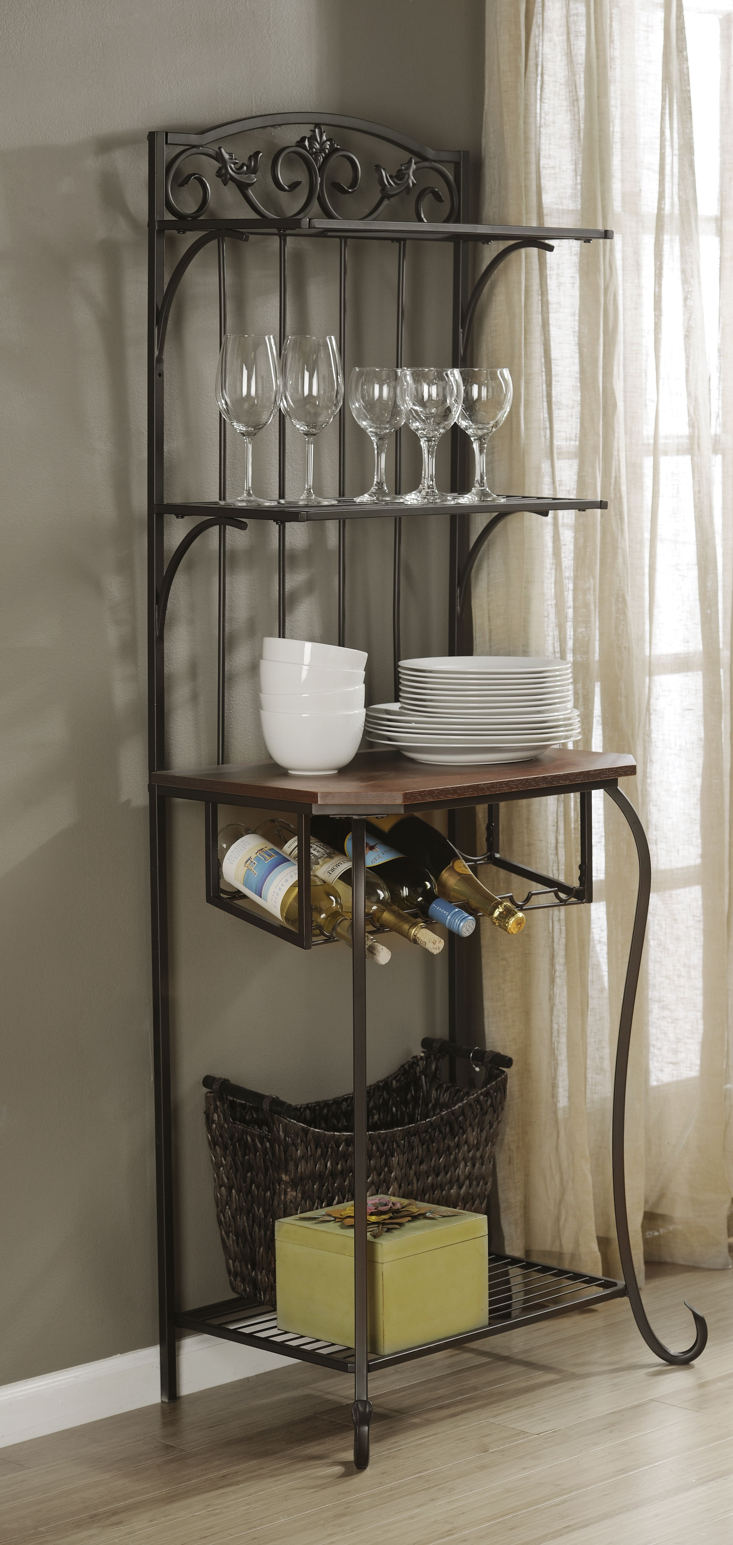 Metal Baker S Rack With Wine Storage Kirkland Home Decor Wine
