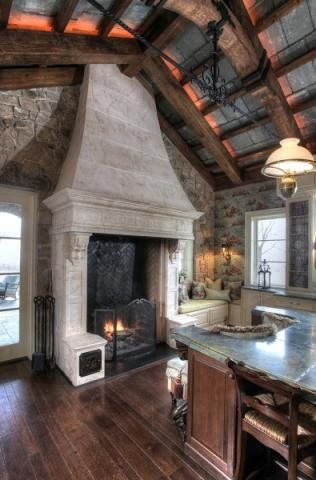I Want A Giant Fireplace Next To My Kitchen Island Look At The Amazing Ceilings
